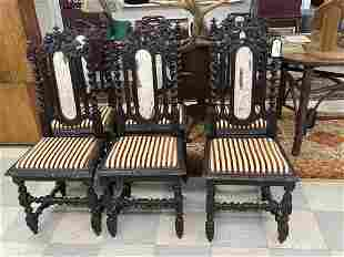 Set of 6 Barley Twist and Carved Dining Chairs