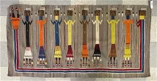 Navajo Yei Rug w/ 9 Colorful Figures