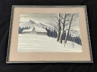 James Baxter Watercolor - Adirondack Winter Scene