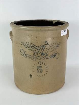 Stoneware Bird Decorated 5 Gallon Crock