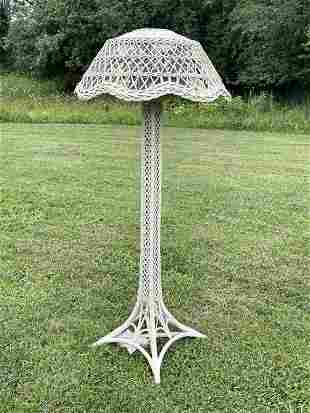 Eiffel Tower Style Antique Wicker Floor Lamp