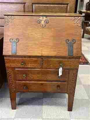 Oak Drop Front Writing Desk