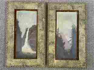 Pair of Oil on Canvas Mountain Scene Paintings