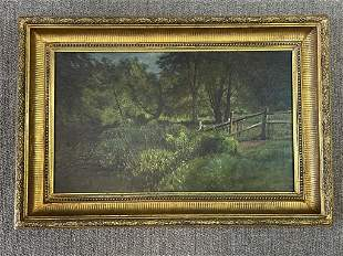 James M. Hart Oil on Canvas with Rail Fence