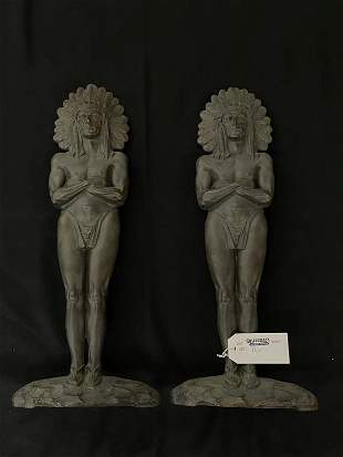 Pair of Bronze Indian Chief Andirons
