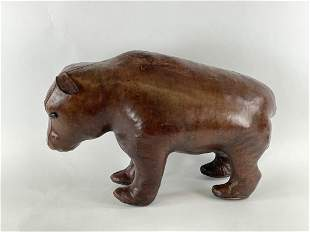 Abercrombie & Fitch Leather Bear Foot Stool