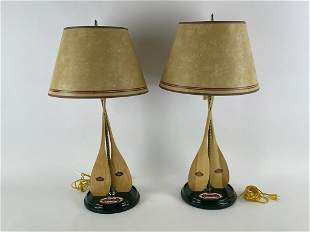 Pair of Old Town Canoe Paddle Table Lamps