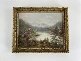 Adirondack Mountain Lake Scene Oil Painting
