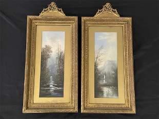 Pair of Pastel Paintings in Matching Frames