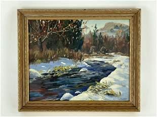 Robert Sleicher Oil on Board Winter Brook Scene