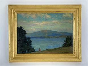 C.H. Richert Oil on Board Lakeside Scene