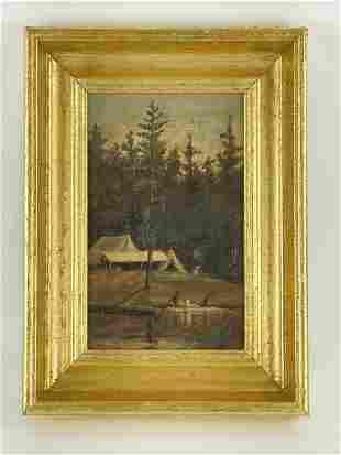Adirondack Camping Scene Oil on Canvas Painting