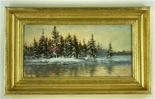 Wayne Cooper Oil on Board Winter Evergreen Scene