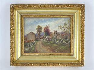 Country Farm Scene Painting- Oil on Board