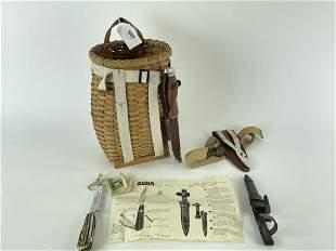 Miniature Pack Basket & 2 Hunting Knives