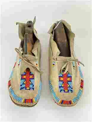 Pair of Leather Beaded Indian Moccasins