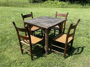 Early Adirondack Table with 4 Chairs