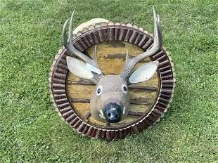 Folk Art Carved & Painted Whitetail Deer Head