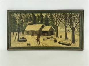 Winter Log Cabin Scene Oil on Board Painting