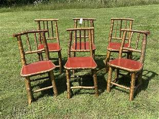 6 Adirondack Yellow Birch Camp Dining Chairs