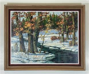 Bruce Mitchell Oil on Canvas Winter Scene