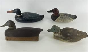 4 Folk Art Wooden Duck Decoys