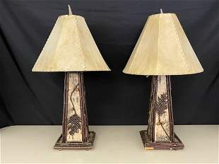 Adirondack Twig & White Birch Decorated Lamps