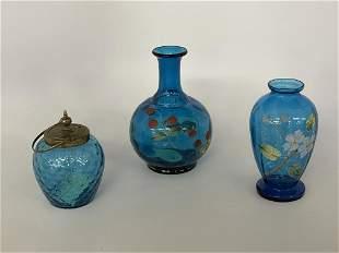 2 Hand Blown & Enameled Vases