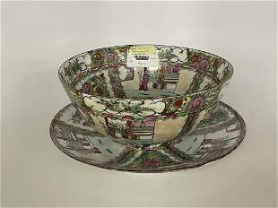 Rose Medallion Punch Bowl & Underplate