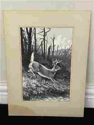 Ned Smith Oil on Board Painting of Whitetail Deer