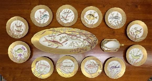 French Limoge Fish Platter Set