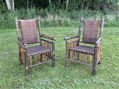 Early Old Hickory Oversized Arm Chairs
