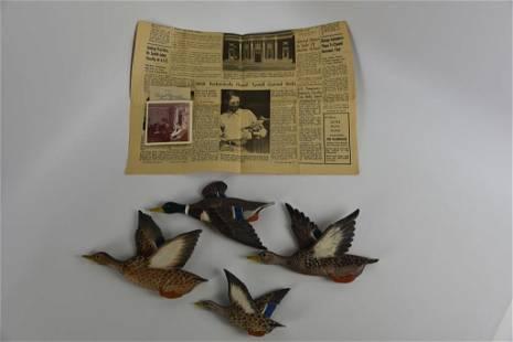 4 Hazel Tyrrell Flying Mallard Duck Carvings