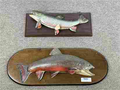 2 Trout Fish Mounted on Wooden Plaques