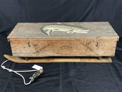 Ice Fishing Wooden Pull Sled w/ Tip Ups
