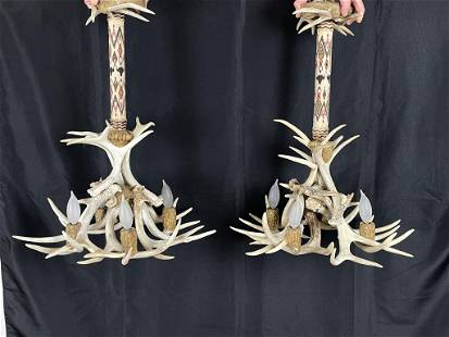 Pair of Antler Chandeliers w/ Horse Hair Hitching