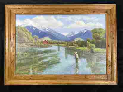 Rocky Mtn Fly Fisherman Oil on Canvas by Hodges