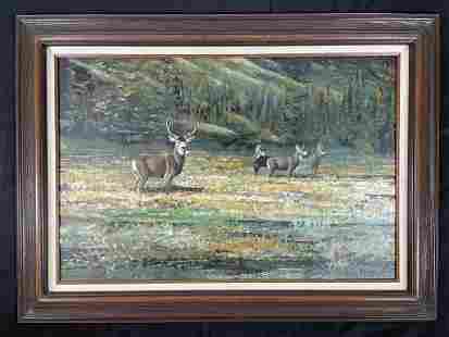 Ron Jenkins Western Oil Painting of Mule Deer