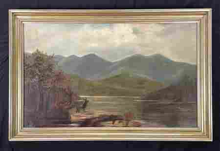 Oil Painting of Mountain Scene with Deer