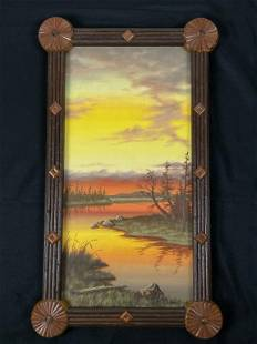 Jessica Farrell Adirondack Sunset Oil Painting