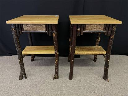 Rustic End Stands Made by Mote Fly Rustics