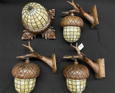 Group of Leaded Glass Oak Leaf & Acorn Lighting