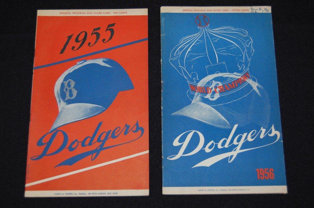 5: 1955 & a 1956 Dodgers Official Program & Scorecard
