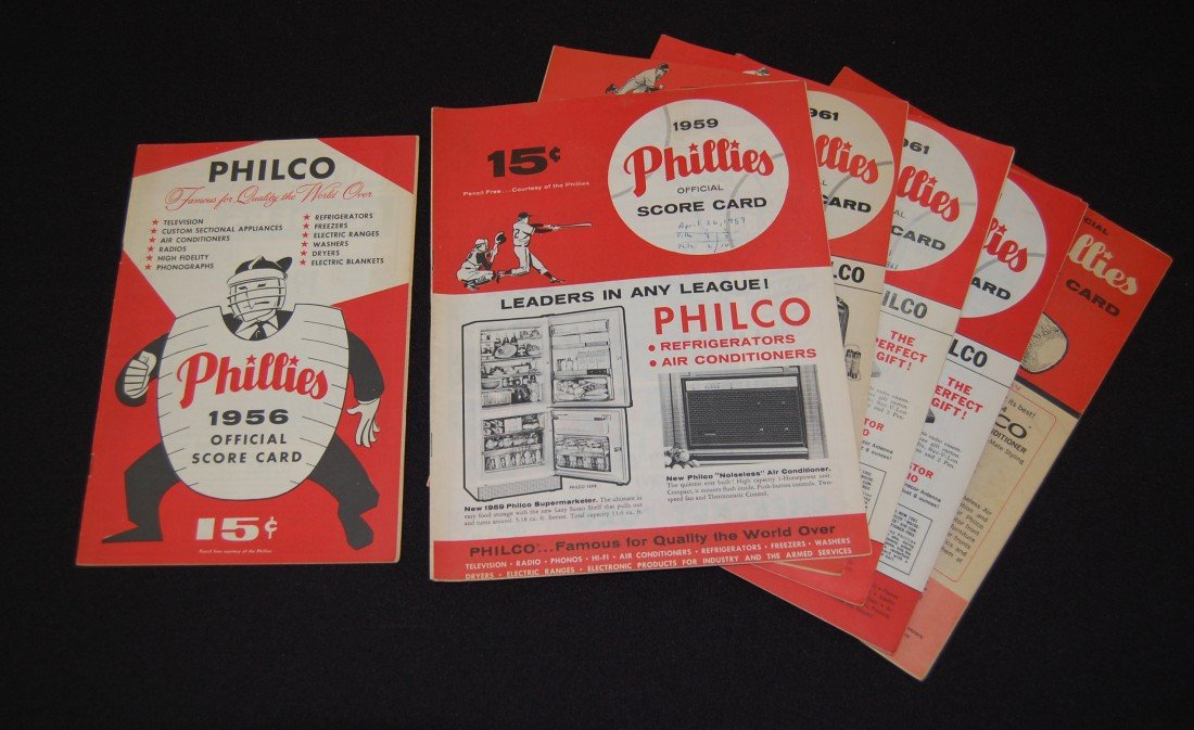 6: Seven 1950's and 1960's Phillies Official Scorecard