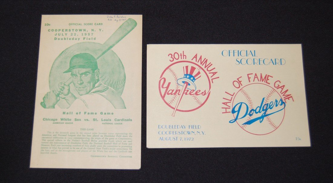 9: 2 Cooperstown NY Scorecards (1957 and 1972)