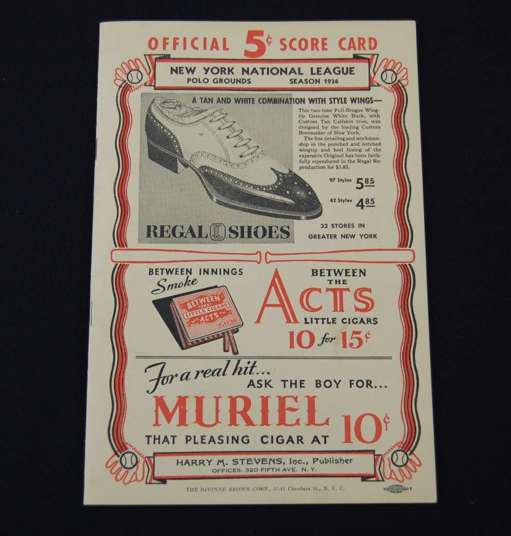 11: 1936 New York National League Program