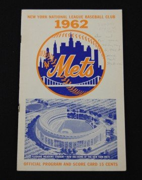 1962 New York Mets Official Program And Scorecard