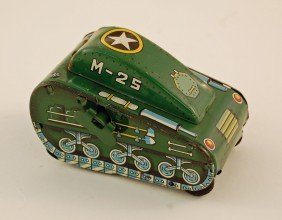 491: Tin Wind Up Toy Tank with Superman