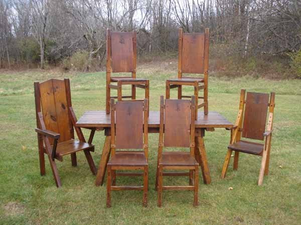 10: Rustic Adirondack Table w/ 6 chairs