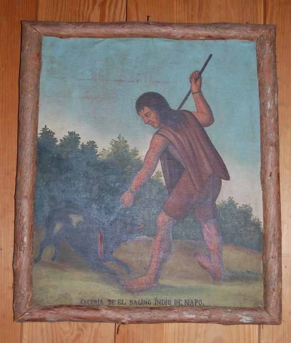 18: Indian hunting oil painting